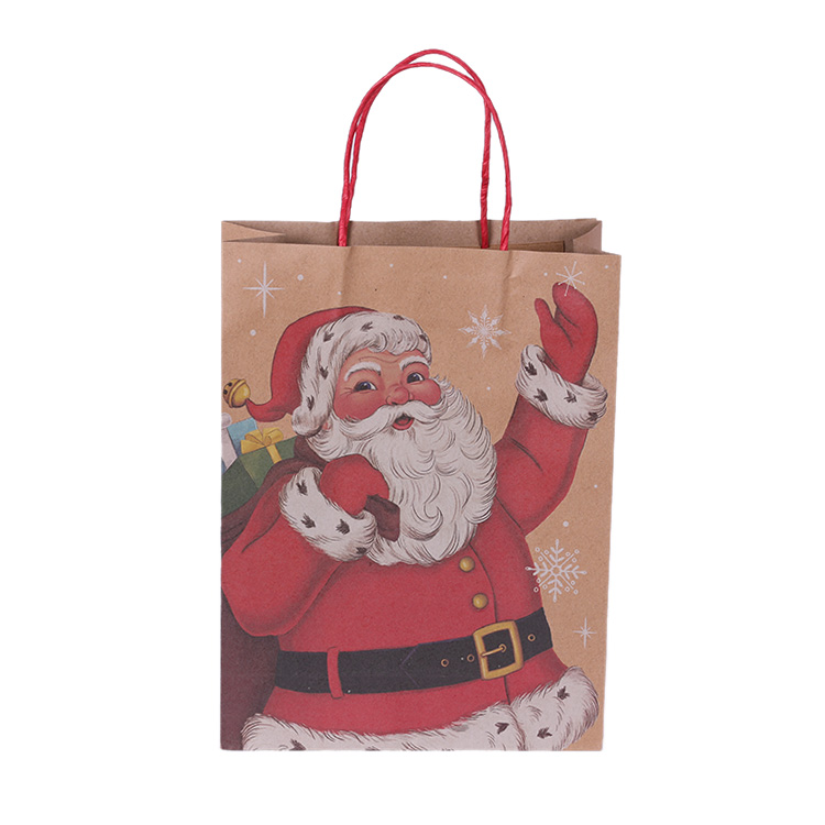 High Quality With Customized Logo For Christmas Gift Kraft Paper Bags With Handles