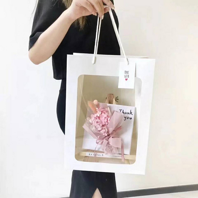 wholesale transparent visible custom flower paper bags with logo
