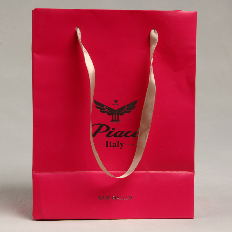 Fashion Custom Hot Selling Party Gift Red Coated Paper Hand Bag