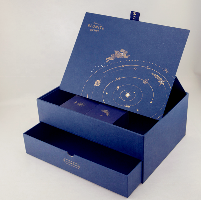 Special Design Double Deck Hot Stamp Logo Printed Mooncake Packaging Blue Drawer Gift Box