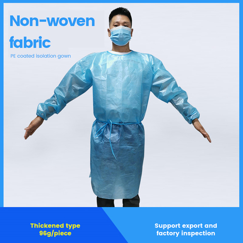 Non-woven fabric PE coated isolation gown,passed American AAMI test level 3,over 50 million pieces have been exported to USA,Germany and Japan.