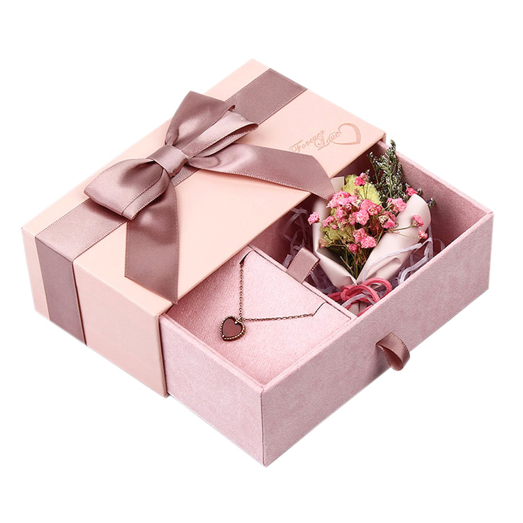 Customized Printed Logo Paper Folding Sliding Jewelry Packaging Gift Box with Drawer