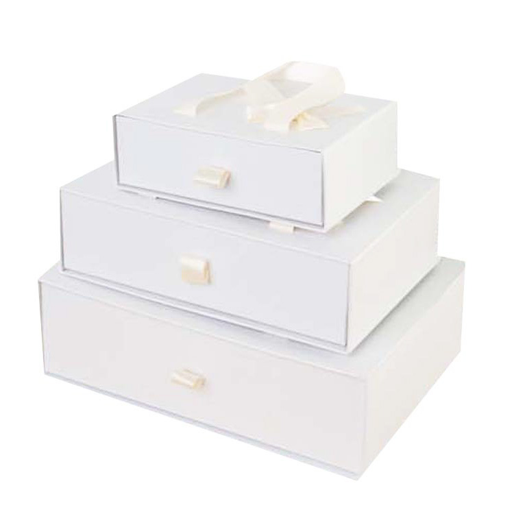 Factory Custom paper box supplier,drawer paper gift box with ribbon bow