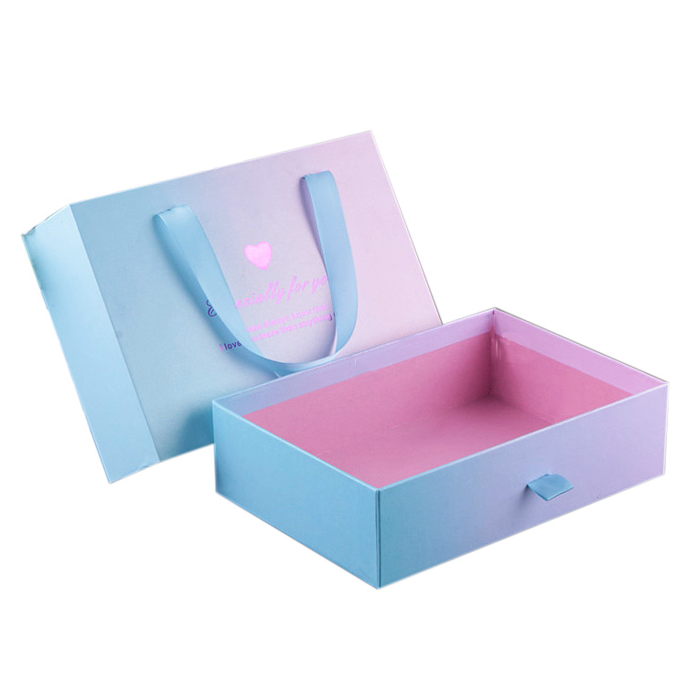 Wholesale High Quality Drawer Type Bowknot Rectangle With Hand Gift Handbag World Cover Gift Box Set For Love