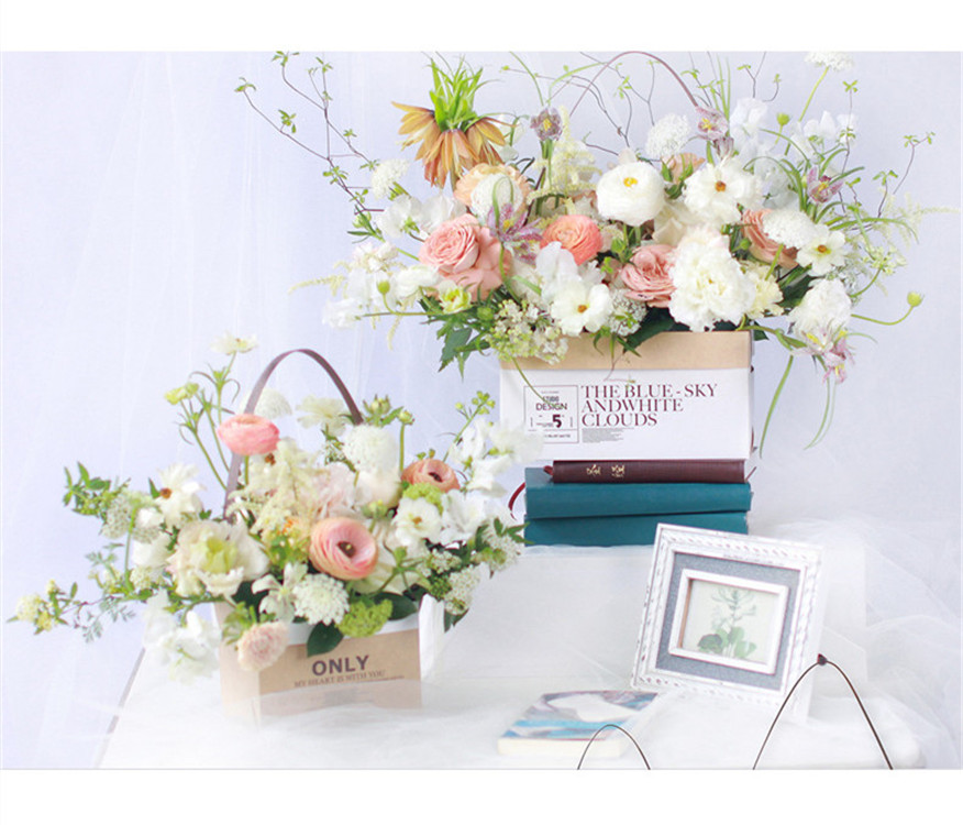 Luxury Flower Shipping Carton Boxes Kraft Paper Waterproof Flower Box With Handle